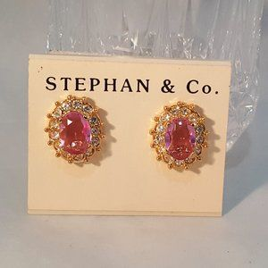 STEPHAN & CO GOLD PLATED PINK CLIP EARRINGS